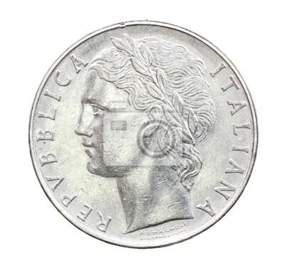 100 Lire Münze Italien 1975 Wandposter Poster Lira Hundert