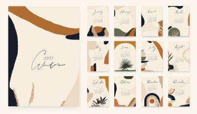 2021 Calendar design in bohemian style. Modern minimalist abstract aesthetic illustrations.