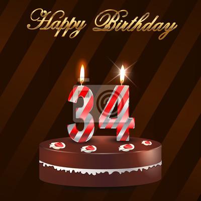 34 Jahre Alles Gute Zum Geburtstag Karte Mit Kuchen Und Kerzen