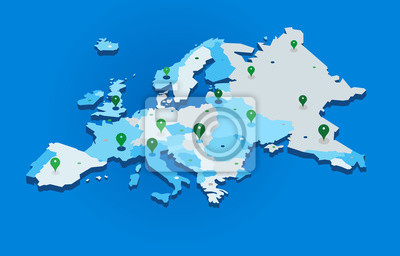 Poster 3d europe map with gps pins - vector