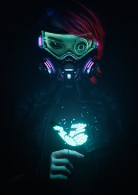 Poster 3d illustration of a cyberpunk girl in futuristic gas mask with protective green glasses and filters in jacket looking at the glowing butterfly landed on her finger in a night scene with air pollution