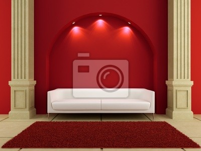 3d-interieur - white couch im roten raum wandposter • poster Couch ...