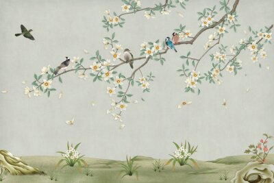 Poster 3d marble mural background light simple green wallpaper . birds in branches flowers floral background with flowers and herbs