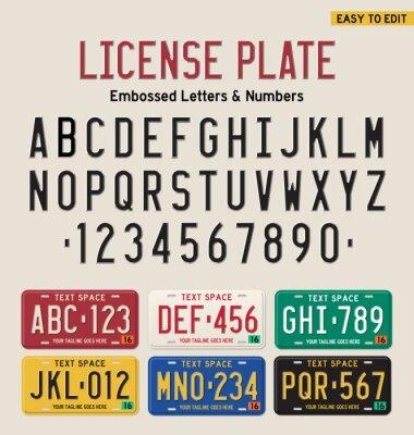 Poster 3D-Nummernschild Schild und Nummernschild gesetzt