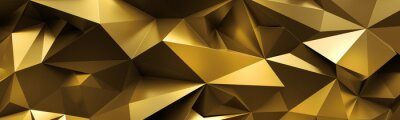 Poster 3d render, abstract gold crystal background, faceted texture, macro panorama, wide panoramic polygonal wallpaper