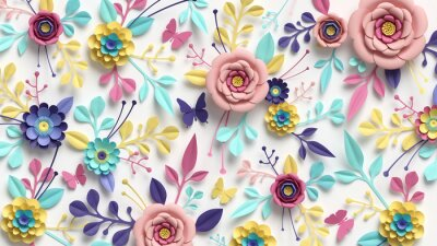 Poster 3d render, horizontal floral pattern. Abstract cut paper flowers isolated on white, botanical background. Rose, daisy, dahlia, butterfly, leaves in pastel colors. Modern decorative handmade design