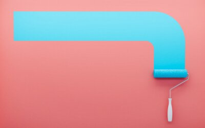 Poster 3D render. Paint roller paints a red wall with blue paint. Place for advertising.