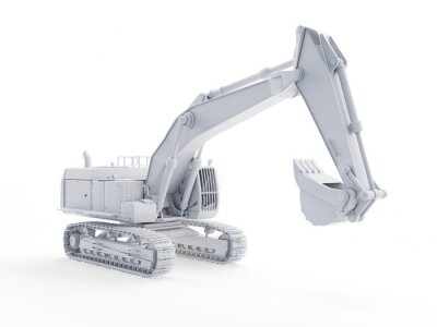 Poster 3d rendered object illustration of an abstract white excavator