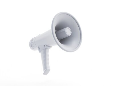 Poster 3d rendered object illustration of an abstract white megaphone