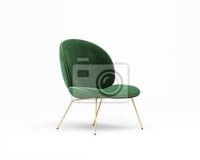 Poster 3d rendering of an Isolated green velvet modern chair