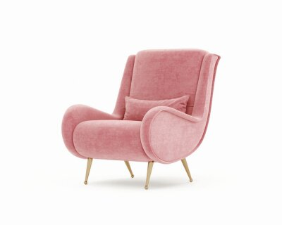 Poster 3d rendering of an Isolated pink salmon red modern mid century lounge armchair