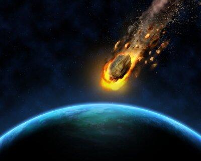 Poster 3D-Weltraum-Szene Hintergrund mit Felsen hurtling in Richtung einer Fiktion