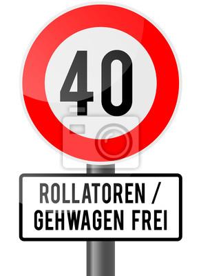 40 Geburtstag Rollator Frei Wandposter Poster Fuhrerschein