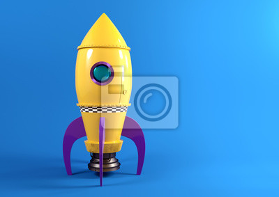 Poster A retro yellow toy spaceship rocket set against a blue background ready to launch. 3D illustration.