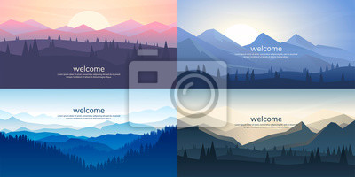 Poster A set of mountain vector landscapes in a flat style. Natural wallpapers are a minimalist, polygonal concept. Sunrise, misty terrain with slopes, mountains near the forest