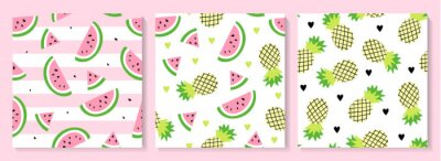 Poster A set of watermelon and pineapple seamless pattern.