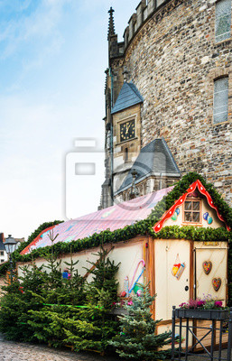 AACHEN, GERMANY - November 19, 2017: Beautiful decorated booths and christmas lights at Christmas Market.