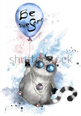 Poster Abbildung einer netten Katze in der Rockerart, mit runden Gläsern und Schmuck. Katze fliegt auf einem Ballon mit Beschriftung - seien Sie ehrfürchtig. Aquarell Splash Farbe. T-Shirt, cooler Druck.
