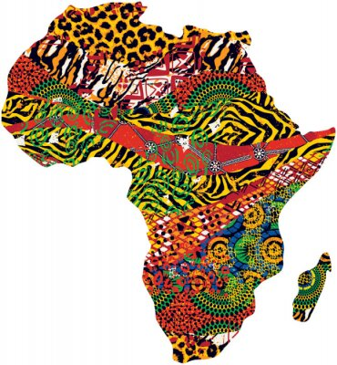 Abstract Africa map fabric and animal fur vector patchwork