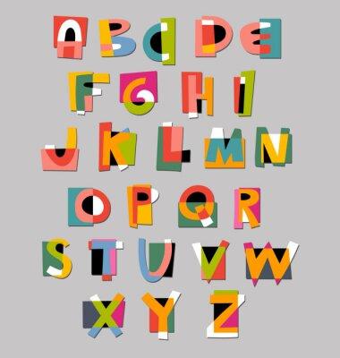 Poster Abstract alphabet Schriftart. Papier Ausschnitt Stil