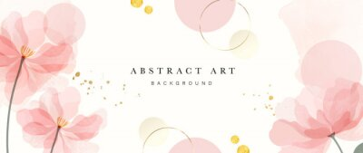 Poster Abstract art background vector. Luxury minimal style wallpaper with golden line art flower and botanical leaves, Organic shapes, Watercolor. Vector background for banner, poster, Web and packaging.