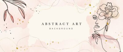 Poster Abstract art botanical background vector . Luxury wallpaper design with women face, leaf, flower and tree  with earth tone watercolor and gold glitter. Minimal Design for text, packaging and prints.