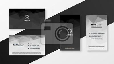 Poster abstract black and white business card template