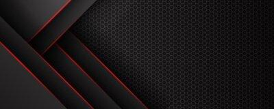 Poster Abstract black grey metallic overlap red light hexagon mesh design modern luxury futuristic technology background vector illustration.