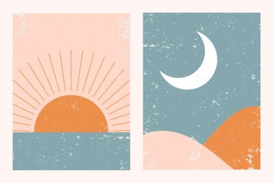 Poster Abstract contemporary aesthetic background landscape set with Sun, Moon, sea, mountains. Earth tones, pastel colors. Boho wall decor. Mid century modern minimalist art print. Flat abstract design.