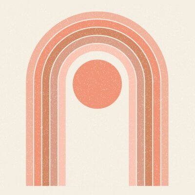 Poster Abstract contemporary aesthetic background with Sun and geometric rainbow gates. Terracotta colors. Boho wall decor. Mid century modern minimalist art print. Organic natural shape. Magic concept.