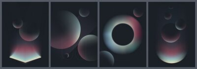 Poster Abstract creative patterns in dark colors, geometric shapes with gradient colors, trendy vector collection