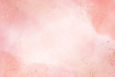 Poster Abstract dusty blush liquid watercolor background with golden crackers. Pastel pink marble alcohol ink drawing effect. Vector illustration design template for wedding invitation