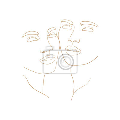 Poster Abstract faces one line drawing. Continuous line, drawing of beauty faces of two womans. Portret minimalist style. Fashion concept, beauty minimalist, one line vector illustration