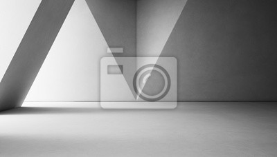 Poster Abstract Interior Design der modernen Showroom mit leeren weißen Betonboden und grauen Wand Hintergrund - 3d Rendering