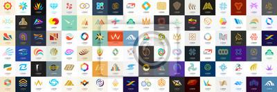 Poster Abstract logos mega collection. Geometrical abstract logos