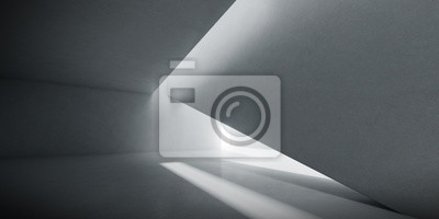 Poster Abstract of concrete interior space with sun light cast the shadow on the wall and floor,Geometric design,Perspective of brutalism  architecture,3d rendering