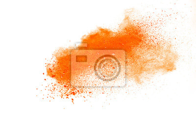 Poster Abstract orange powder explosion isolated on white background.