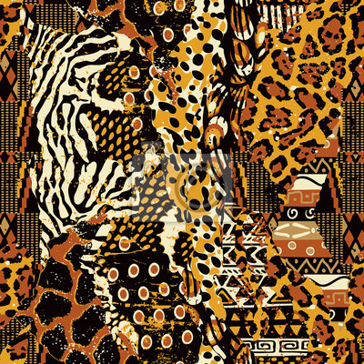 Abstract patchwork of traditional african fabric and wild animal skins vector seamless pattern
