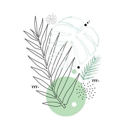 Poster Abstract poster background minimal shapes, watercolor tropical leaf. Art print with doodles, line, blue texture. Tropical illustration for minimalism, hipster, scandinavian design, t-shirt print
