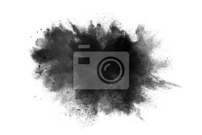 Poster abstract powder splatted background. Black powder explosion on white background. Colored cloud. Colorful dust explode. Paint Holi.
