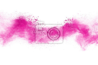 Poster Abstract powder splatted background. Colorful dust explode. Paint Holi.