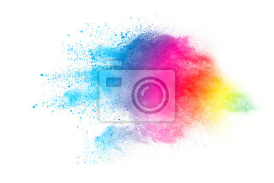 Poster Abstract powder splatted background. Colorful powder explosion on white background. Colored cloud. Colorful dust explode. Paint Holi.
