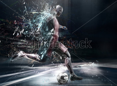Poster abstract soccer player; 3d illustration