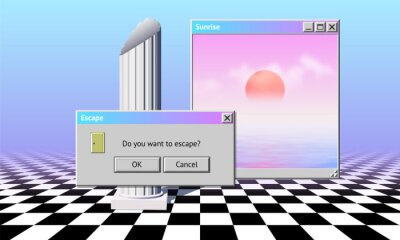 Poster Abstract vaporwave aesthetics computer windows background with 90s style system message window, palm and checkered floor covered with pink and blue mist