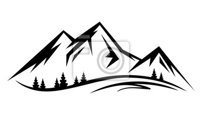 Poster Abstract vector landscape nature or outdoor mountain view silhouette