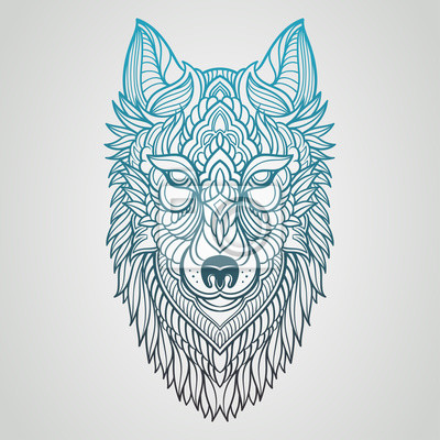 Poster Abstract Wolf Hand Draw