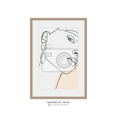 Poster Abstract woman face one line drawing. Continuous line drawing. Portrait minimalistic style. Minimalist decor. Portrait frame for a picture. fashion concept, woman beauty. One line fashion illustration