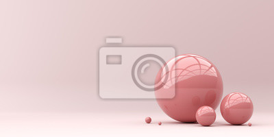 Poster Abstraction for advertising. Pink balls on a pink background. 3d rendering illustration.