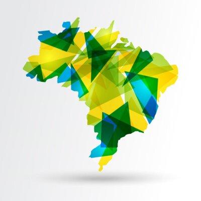 Poster Abstrakt Brasilien-Karte