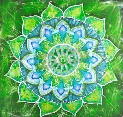 Poster abstrakt grün gemalte Bild mit Kreis Muster, Mandala der Anahata-Chakra